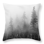 Stevens Pass Trees And Fog 3201 Throw Pillow