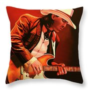 Stevie Ray Vaughan Painting Throw Pillow