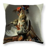 Stil Life With Birds And Hunting Gear In A Niche  Throw Pillow