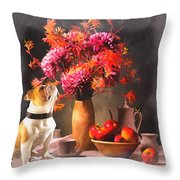 Still - Floral And Fruit Throw Pillow