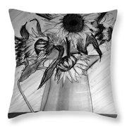 Still Life - 6 Sunflowers In A Jug Throw Pillow