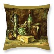 Still Life 72 - Oil On Wood Throw Pillow