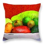 Still Life Art With Fruits Throw Pillow