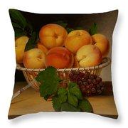 Still Life - Basket Of Peaches Throw Pillow