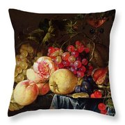 Still Life Throw Pillow by Cornelis de Heem