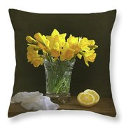 Still Life Daffodils Throw Pillow