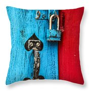 Still Life In Blue And Red Throw Pillow