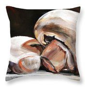 Still Life Mushrooms Throw Pillow