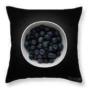 Still Life Of A Bowl Of Blueberries. Throw Pillow