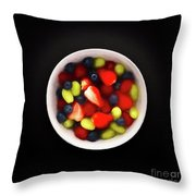 Still Life Of A Bowl Of Fresh Fruit Salad. Throw Pillow