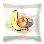 Still Life Of Apple And Banana  Throw Pillow
