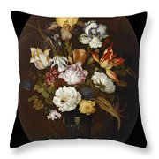 Still Life Of Flowers In A Glass Vase Throw Pillow