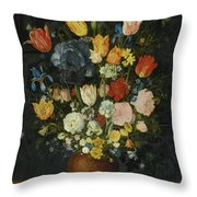 Still Life Of Flowers In A Stoneware Vase Throw Pillow