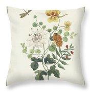 Still Life Of Flowers, Machtelt Moninckx, C. 1600 - C. 1687 Throw Pillow