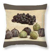 Still Life Of Grapes And Figs Throw Pillow