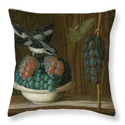 Still Life Of Grapes With A Gray Shrike Throw Pillow