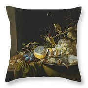Still Life Of Hazelnuts Grapes Oysters And Other Foods On A Draped Table Throw Pillow