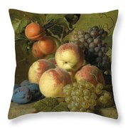 Still Life Of Peaches  Grapes And Plums On A Stone Ledge With A Bird And Butterfly Throw Pillow