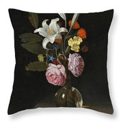 Still Life Of Roses Lilies And Other Flowers In A Glass Vase On A Marble Ledge Throw Pillow