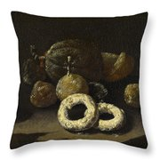 Still Life Of Sugared Fruits Throw Pillow