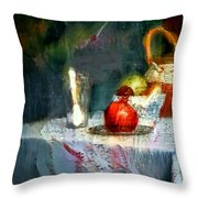 Still Life Oil Painting Table With Pomegranate Ceramic Kettle Glass Knife And Bowl Of Fruit Pears Linen Sketch Painting Life Drawing Throw Pillow