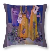 Still Life Olive Oil And Olive Twigs Throw Pillow