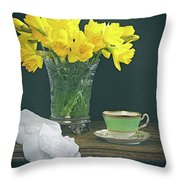 Still Life On Rustic Table Throw Pillow