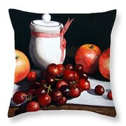 Still Life 'preserve Pot And Fruit' Throw Pillow