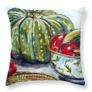 Still-life Pumpkin And Apples Throw Pillow
