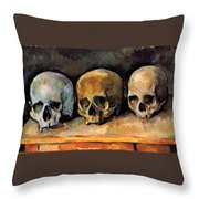 Still Life, Three Skulls Throw Pillow