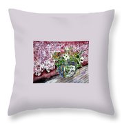 Still Life Vase And Lace Watercolor Painting Throw Pillow