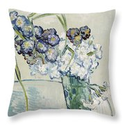 Still Life, Vase Of Carnations Throw Pillow