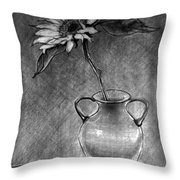 Still Life - Vase With One Sunflower Throw Pillow