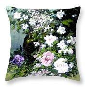 Still Life W/flowers Throw Pillow