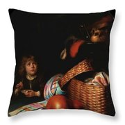 Still Life With A Boy Blowing Soap Bubbles 1636 Throw Pillow