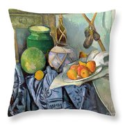 Still Life With A Ginger Jar And Eggplants Throw Pillow