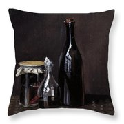 Still Life With A Jellyjar A Carafe And A Bottle Of Wine Throw Pillow