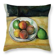Still Life With A Peach And Two Green Pears Throw Pillow