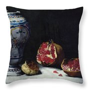 Still Life With A Pomegranate Throw Pillow by Auguste Theodule Ribot