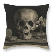 Still Life With A Skull And A Vase Of Roses Throw Pillow