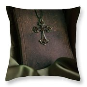 Still Life With An Old Book And Cross Pendant Throw Pillow