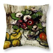 Still Life With Anemones And Fruit Throw Pillow