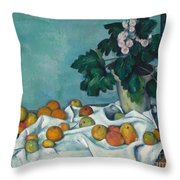 Still Life With Apples And A Pot Of Primroses, 1890 Throw Pillow