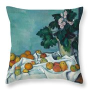 Still Life With Apples And A Pot Of Primroses Throw Pillow