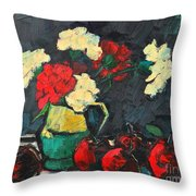 Still Life With Apples And Carnations Throw Pillow by Ana Maria Edulescu