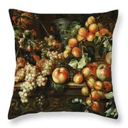 Still Life With Apples And Grapes Throw Pillow