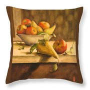 Still-life With Apples And Pears Throw Pillow