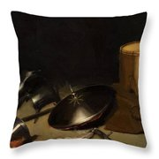 Still Life With Armor Shield Halberd Sword Leather Jacket And Drum Throw Pillow