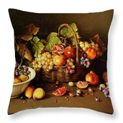 Still Life With Basket And Pomegranate Throw Pillow