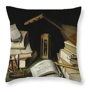 Still Life With Books Throw Pillow